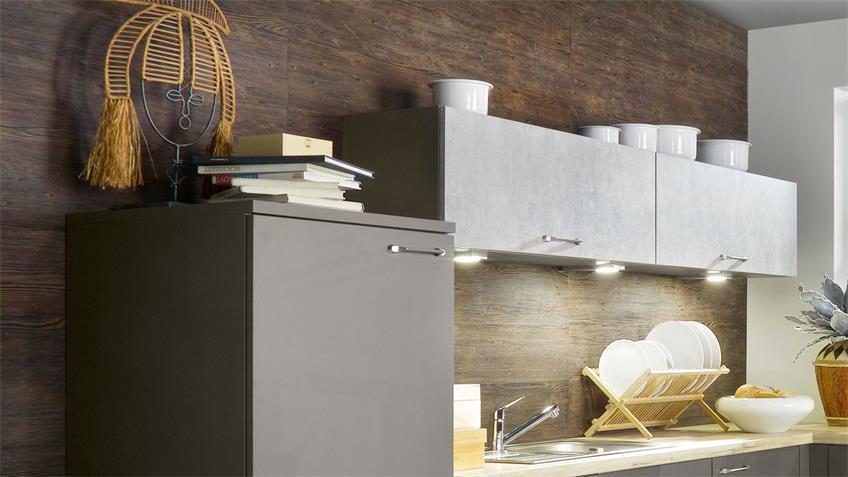 L-Küche SUSANN quarzgrau Hochglanz Eiche sand 305x245