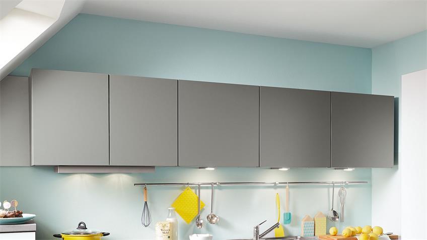 L-Küche ELLA Winkelküche weiß matt und grau 365x205 cm