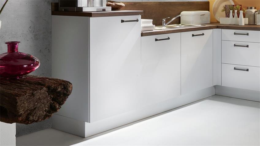 L-Küche ELLA Winkelküche weiß matt und cognac 305x245