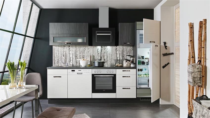 Küche SUSANN weiß Hochglanz und schwarz mit E-Geräten