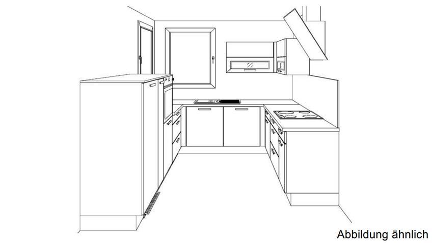 U-Küche SUSANN grau Hochglanz und schwarz mit E-Geräten