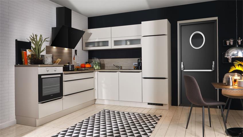L-Küche ELLA Einbauküche sand beige seidenmatt mit Geräten