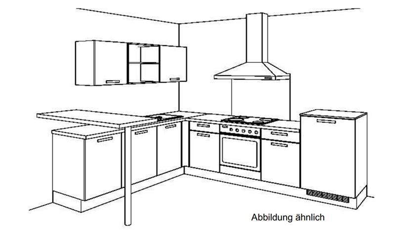 L-Küche CINDY Einbauküche grau grain cognac mit E-Geräten
