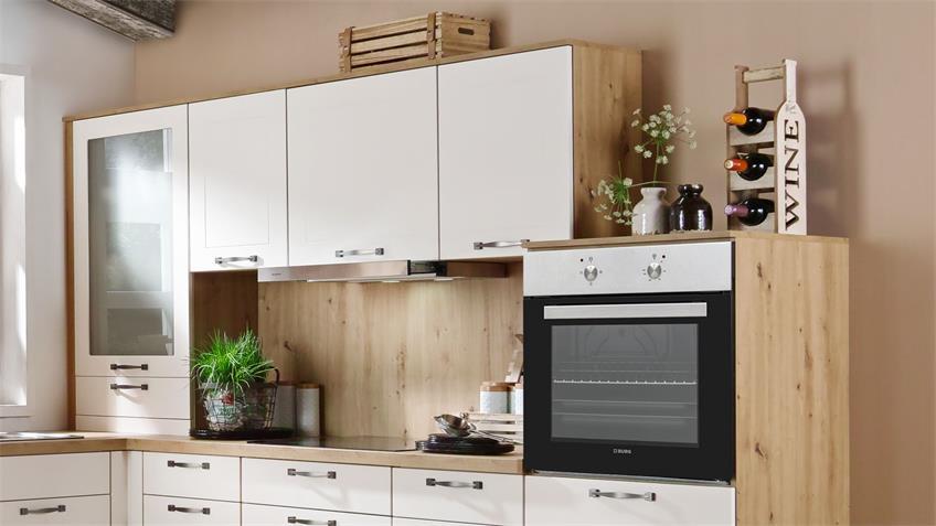 L-Küche FRIEDA magnolie seidenmatt Eiche natur mit Geräten