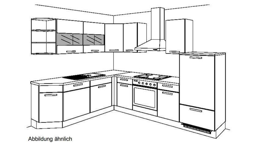 L-Küche MARA salbei seidenmatt und Eiche natur mit Geräten