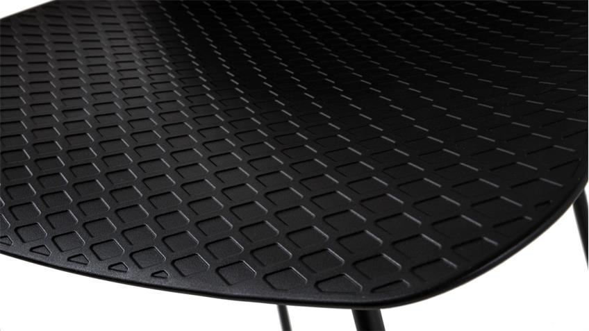 Barhocker PARISI Barstuhl Sitz Kunststoff Gestell Metall schwarz matt