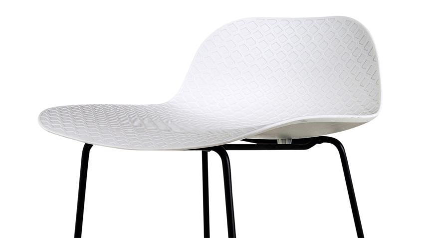 Barhocker PARISI Barstuhl Sitz Kunststoff Gestell Metall weiß matt