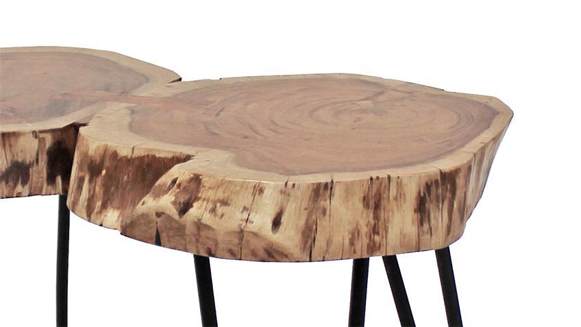 Couchtisch VICTORIA Tisch Akazie massiv natur Lack schwarz matt 81 cm