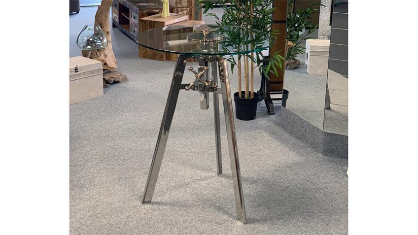 Bartisch LIMELIGHT Tisch Glas Eisen silber Höhenverstellung rund 74 cm