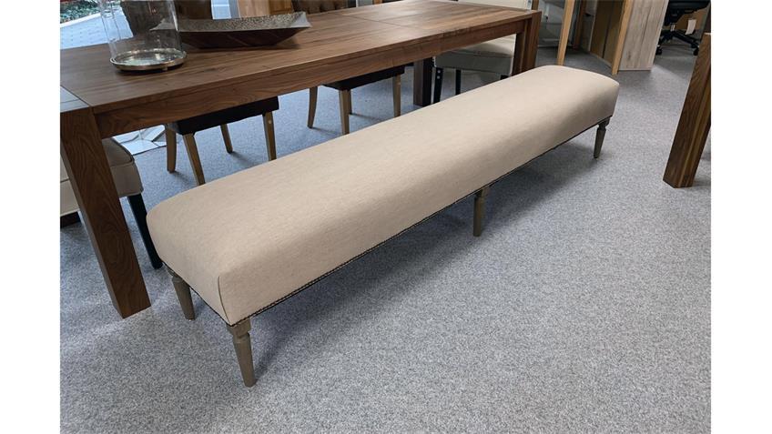 Sitzbank ADMIN Polsterbank Stoff beige smoked Füße Eiche massiv 240 cm