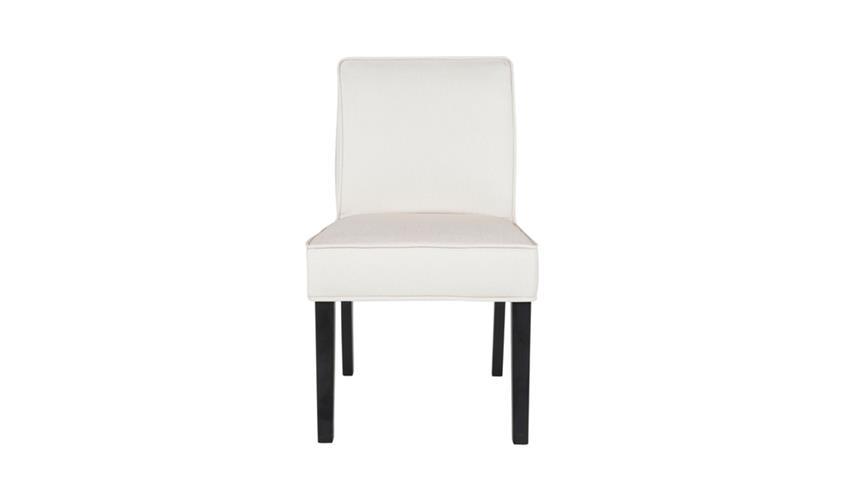 Stuhl DANIA Esszimmerstuhl Küchenstuhl Stoff beige Füße schwarz Lack