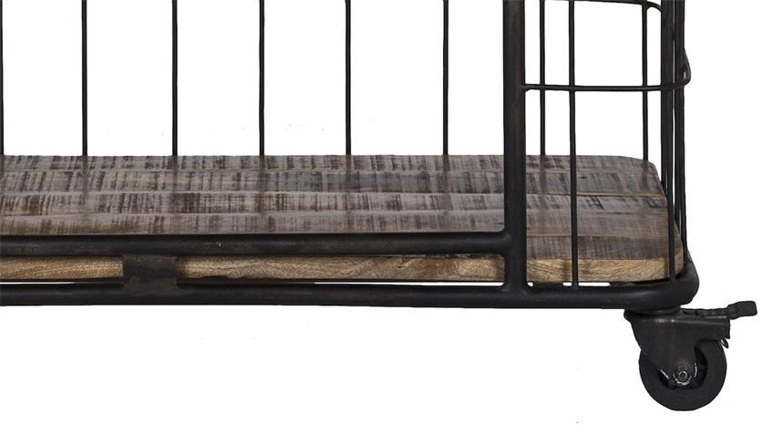 Servierwagen Regal Monta schwarz Metallgestell massiv Mangoholz