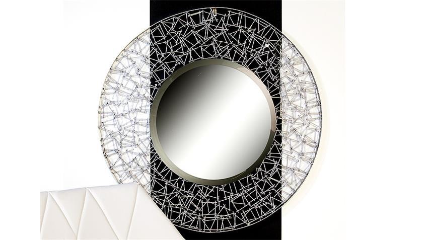 Spiegel NAILS Silber Metall Glas Ø 90 handgearbeitet
