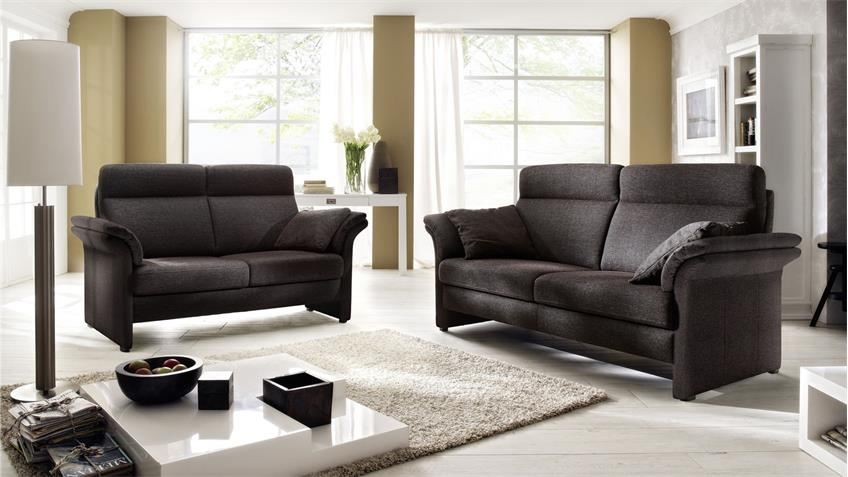 Sofa SHEFFIELD 3-Sitzer braun schwarz Fedekernpolsterung 192 cm