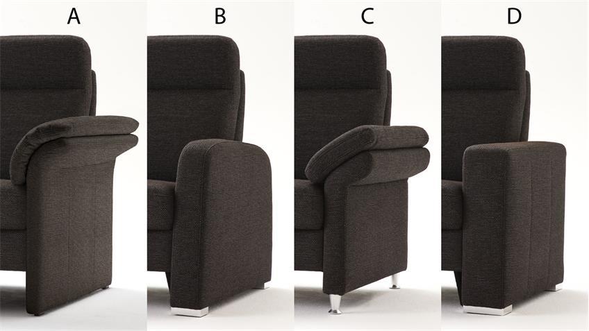 Sofa MADEIRA 3-Sitzer braun schwarz Fedekernpolsterung 192 cm