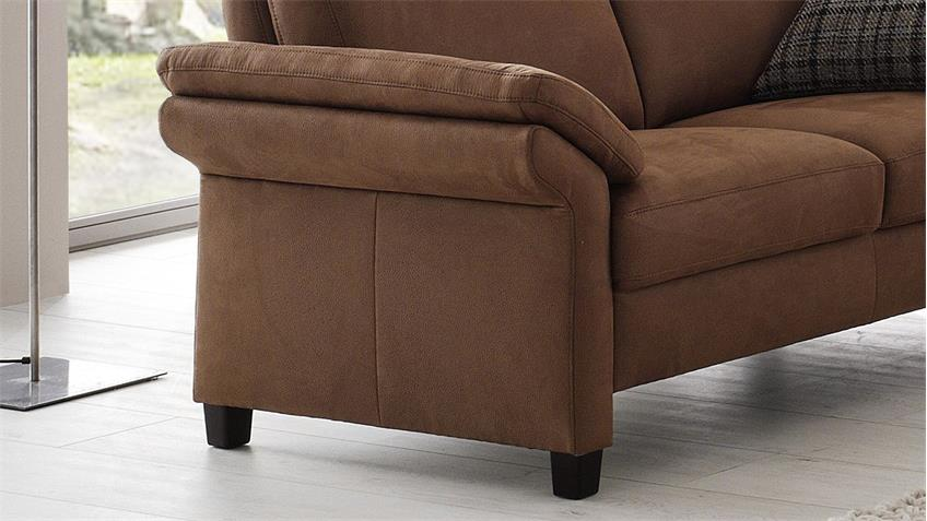 Sofa MADEIRA 2-Sitzer nougat braun Federkern 158 cm