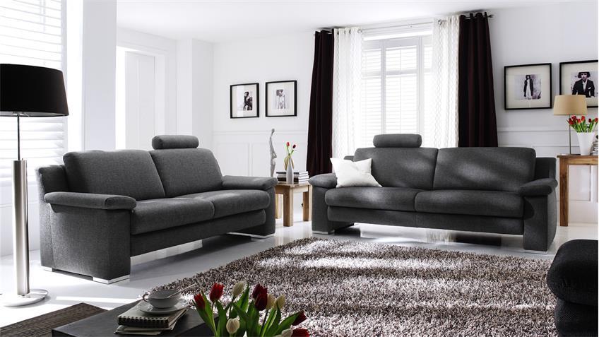 Sofa CHOICE 3-Sitzer Stoff dunkelgrau inkl. Nosagfederung