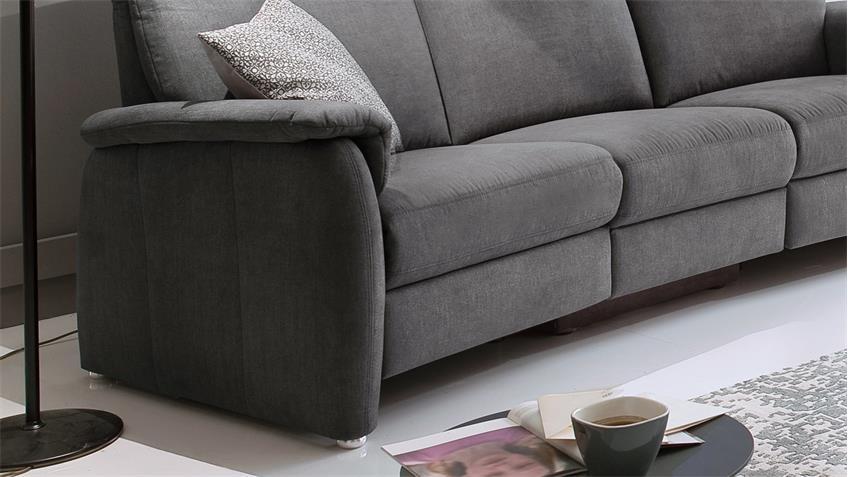 Sofa PRESTON 3 Sitzer Stoff stone grau Federkern 222 cm