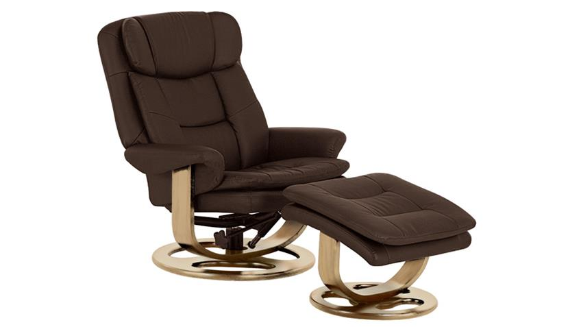 Relaxsessel PADO mit Hocker Sessel in braun Gestell massiv