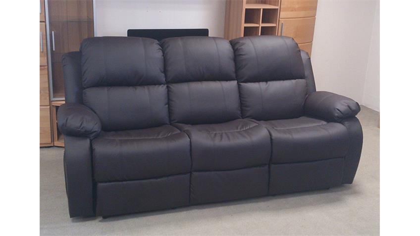 Sofa Rax 3-Sitzer in braun mit verstellbarer Rückenlehne