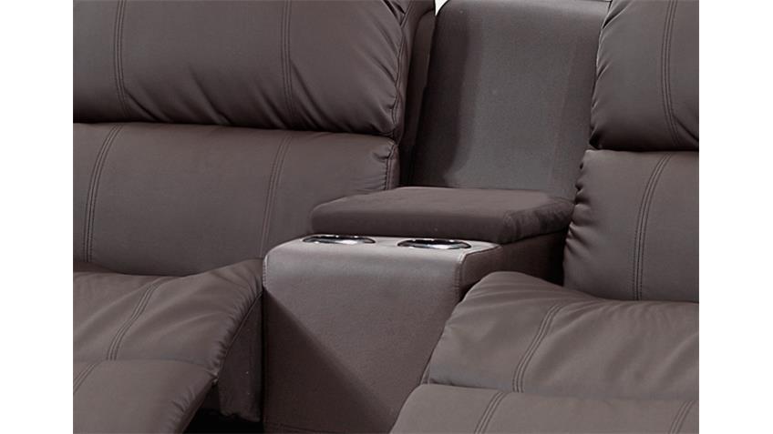 Sofa mit Tea-Table LAKOS 2-sitzer Kinosofa braun Relaxfunktion