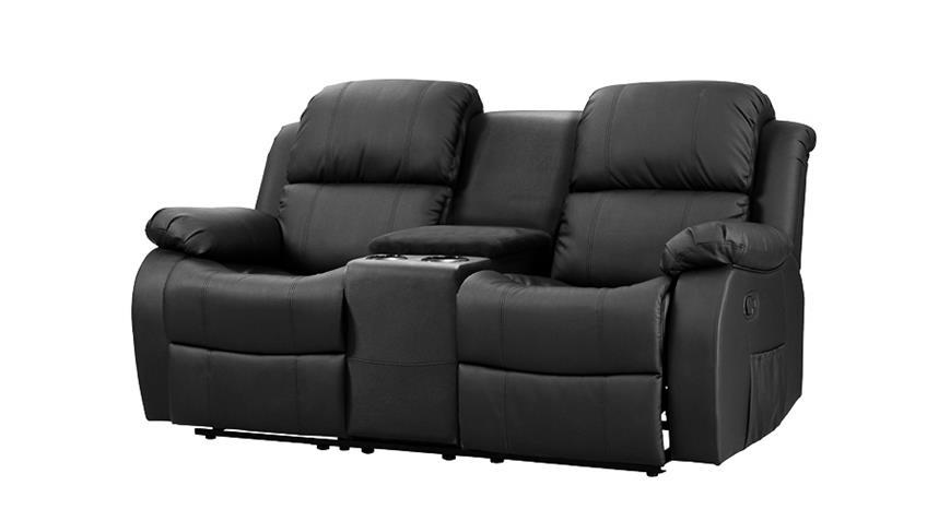 Sofa mit Tea-Table LAKOS 2-sitzer Kinosofa schwarz Relaxfunktion