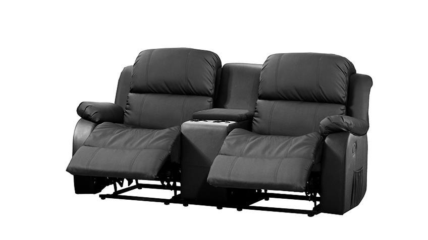 kinosofa mit tea table lakos 2 sitzer sofa schwarz relaxfunktion. Black Bedroom Furniture Sets. Home Design Ideas