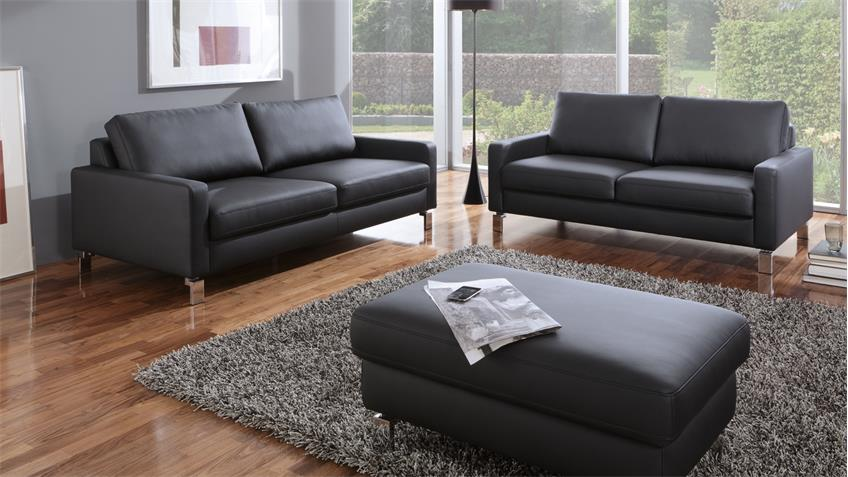 sofa intermezzo 3 sitzer in schwarz federkern und chromf e 204 cm. Black Bedroom Furniture Sets. Home Design Ideas