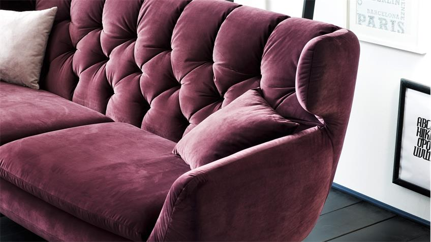Sofa SIXTY 3-Sitzer Bezug Velour Stoff purple Gestell ...