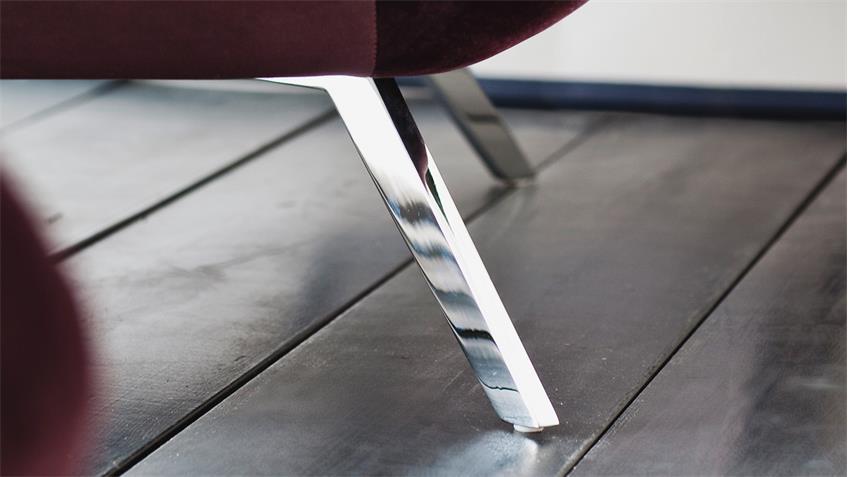 Sessel SIXTY 1-Sitzer Bezug Velour Stoff purple Gestell Chrom 100 cm