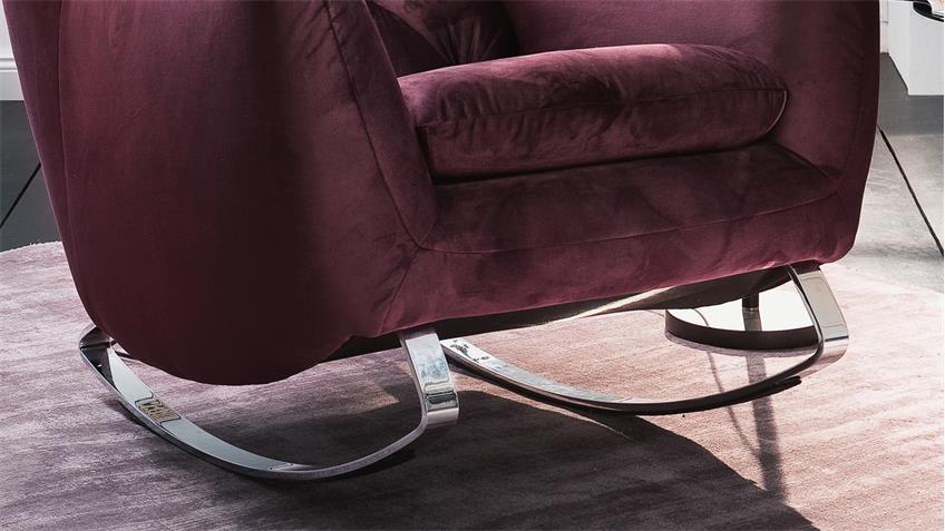 Schaukelsessel SIXTY Bezug Velour Stoff purple Gestell Chrom 82 cm