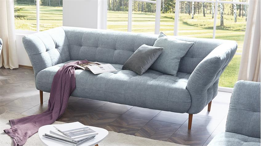 Sofa BIG APPLE 2,5-Sitzer Stoff light blue Gestell Buche natur 220 cm