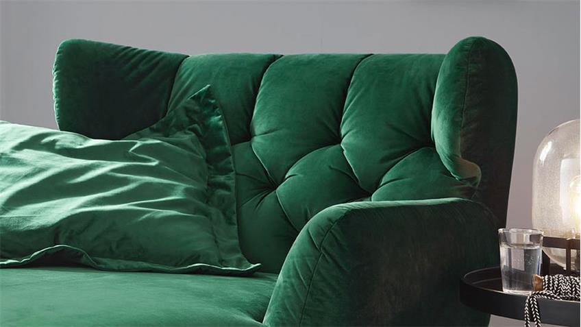 Longseat SIXTY Chaiselongue Sofa Stoff Velour smaragd grün 126x160 cm