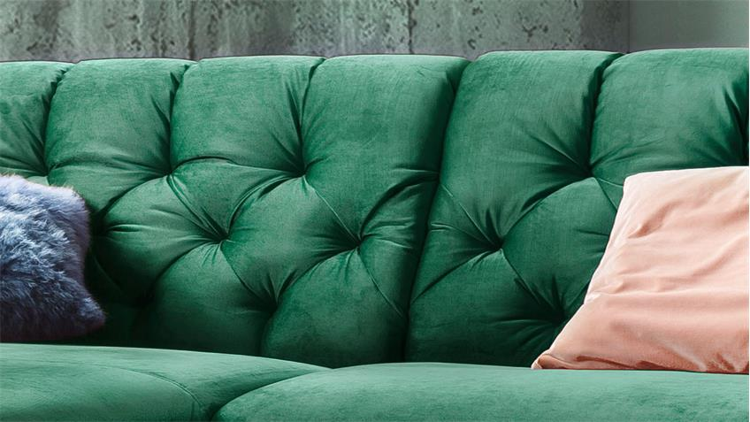 Ecksofa SIXTY Eckgarnitur links Stoff Velour smaragd grün 300x175 cm