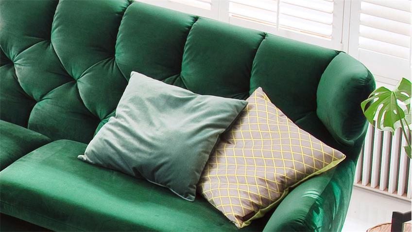 Sofa SIXTY 2,5-Sitzer Couch Polstersofa Stoff Velour smaragd grün 200