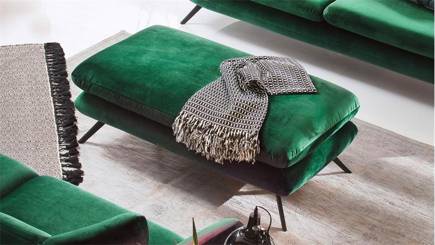 Hocker SIXTY Sitzhocker Polsterhocker Stoff Velour smaragd grün 90x60