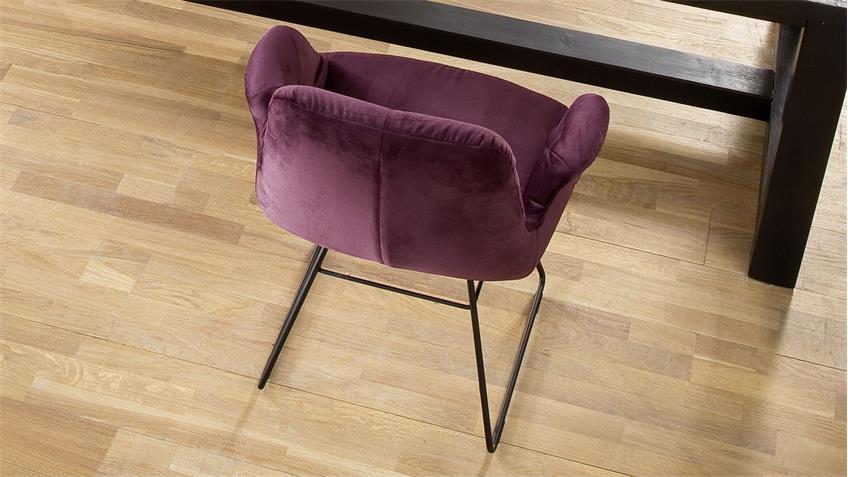 Stuhl SIXTY Polsterstuhl Esszimmerstuhl in Stoff Velour purple lila