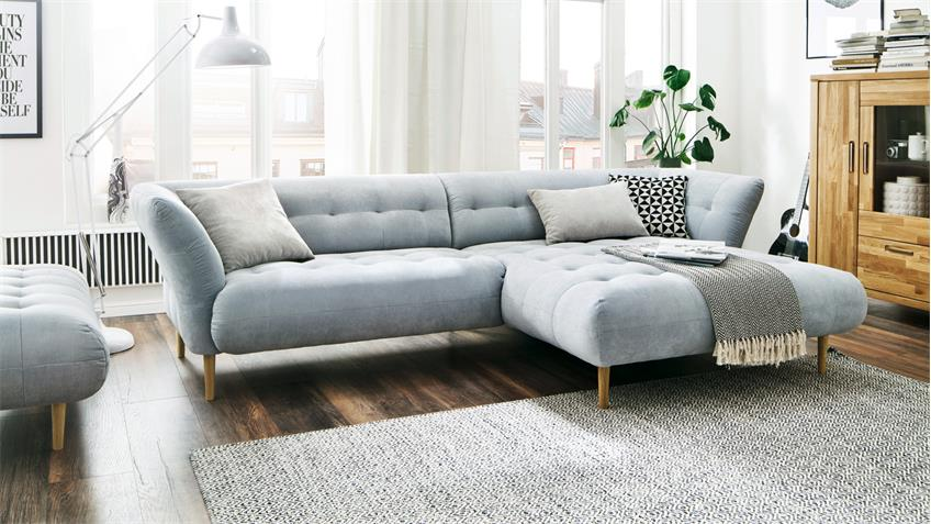 Ecksofa BIG APPLE Eckgarnitur L-Sofa in Stoff hellgrau blau 304x170 cm