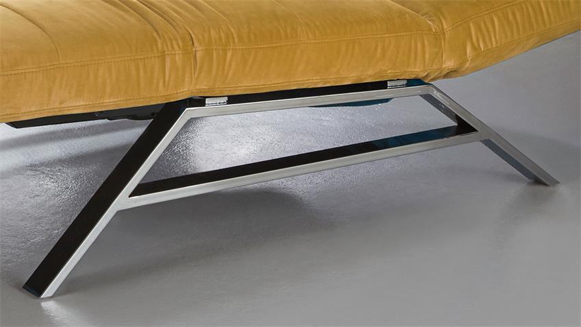 Relaxliege RIVIERA in Velvet Stoff gold motorisch verstellbar