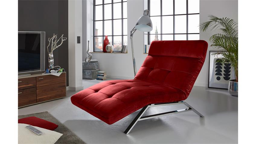 Relaxliege RIVIERA in Velvet Stoff rot motorisch verstellbar