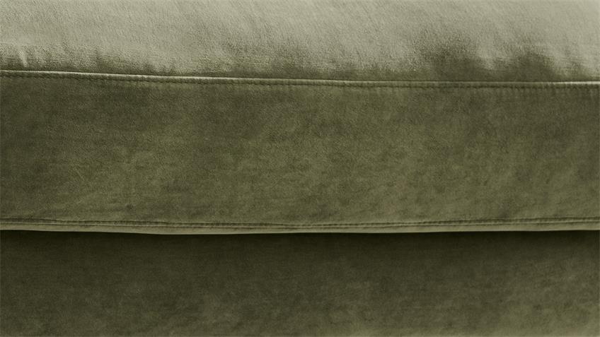 Ecksofa UPTOWN Velour Stoff Velvet olivgrün 272x190 cm