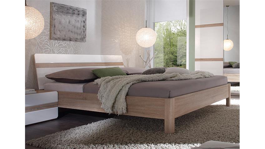 Schlafzimmer Set SELENE Sonoma Eiche weiß Hochglanz 4 tlg