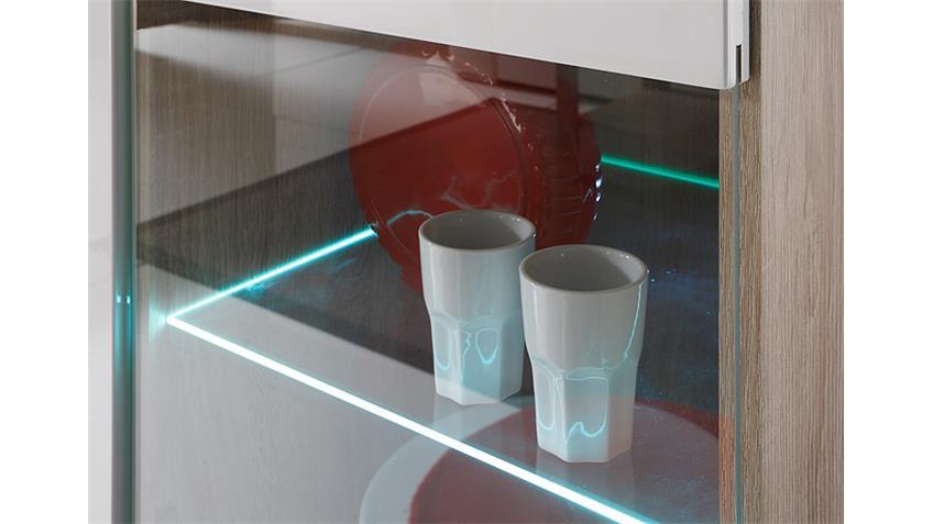 Wohnwand 1 SELENE Sonoma Eiche weiß Hochglanz inkl. LED