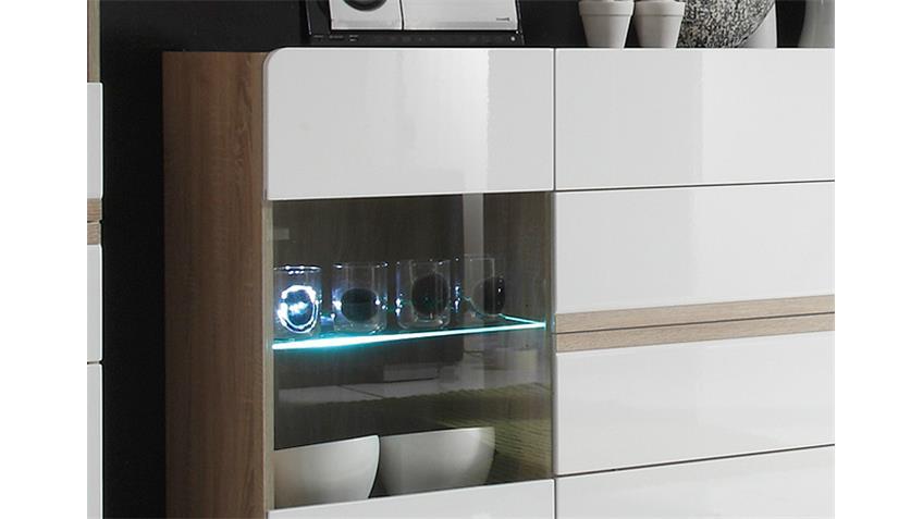 Sideboard 2 SELENE Sonoma Eiche weiß Hochglanz inkl. LED