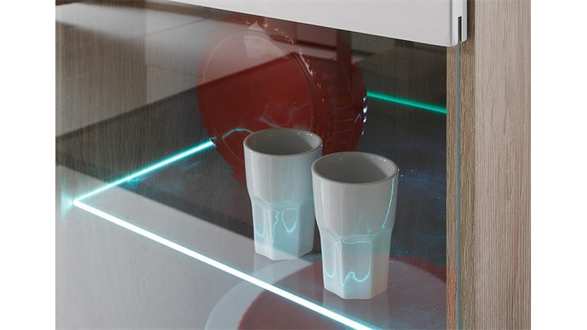 Wohnwand 2 SELENE Sonoma Eiche weiß Hochglanz inkl. LED