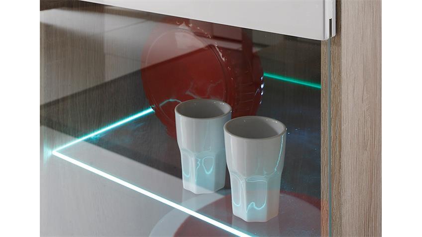 Wohnwand 3 SELENE Sonoma Eiche weiß Hochglanz inkl. LED