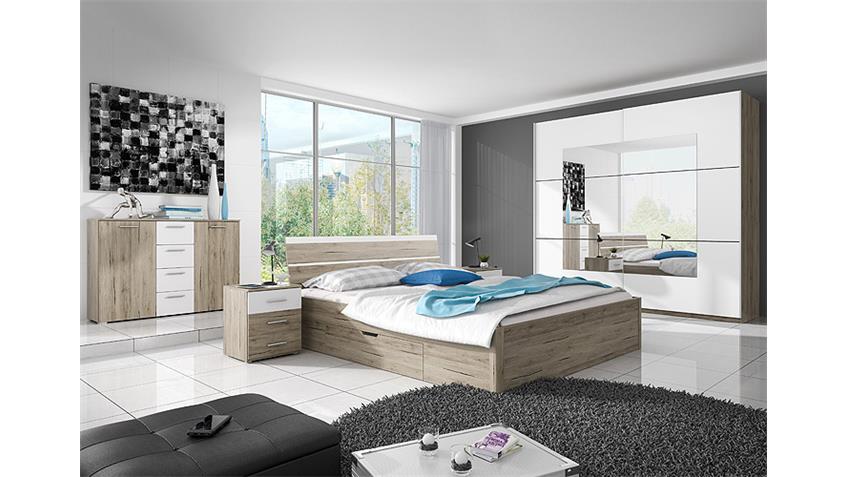 Bett BERLIN San Remo Eiche hell weiß mit Bettkasten 160x200