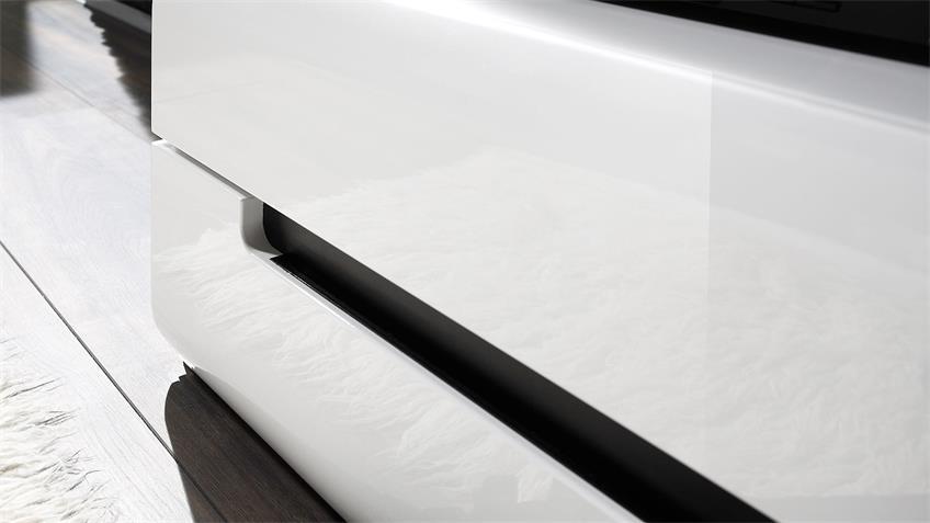 Wohnwand HEKTOR 11 Fronten Weiß Hochglanz tiefgezogen