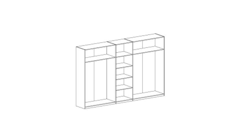 Kleiderschrank HEKTOR Sonoma Sand Grau Hochglanz, 225 cm