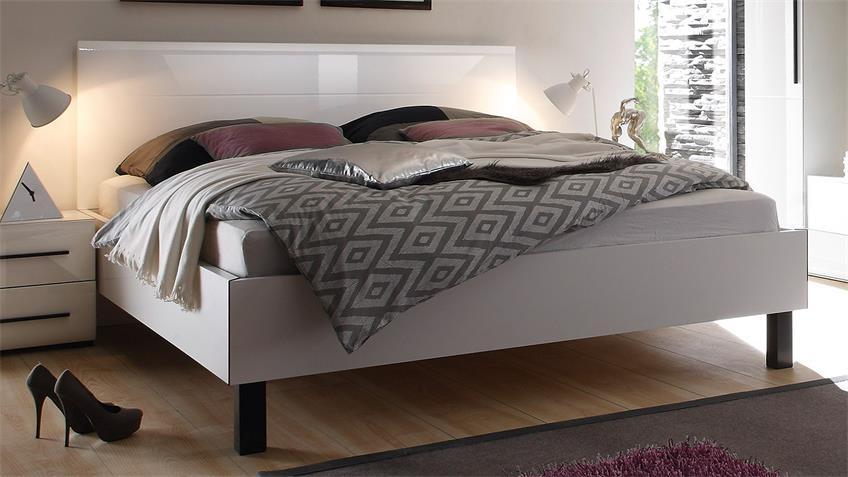 Bett HARMONYS Kopfteil in Weiß Hochglanz 180x200 cm